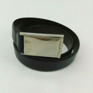 Dolce & Gabbana Leather Slide Buckle Logo Belt